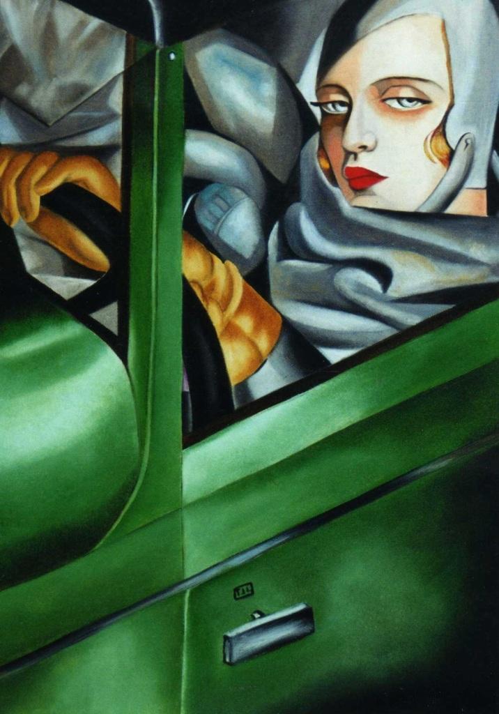 Self portrait in green Bugatti, 1929