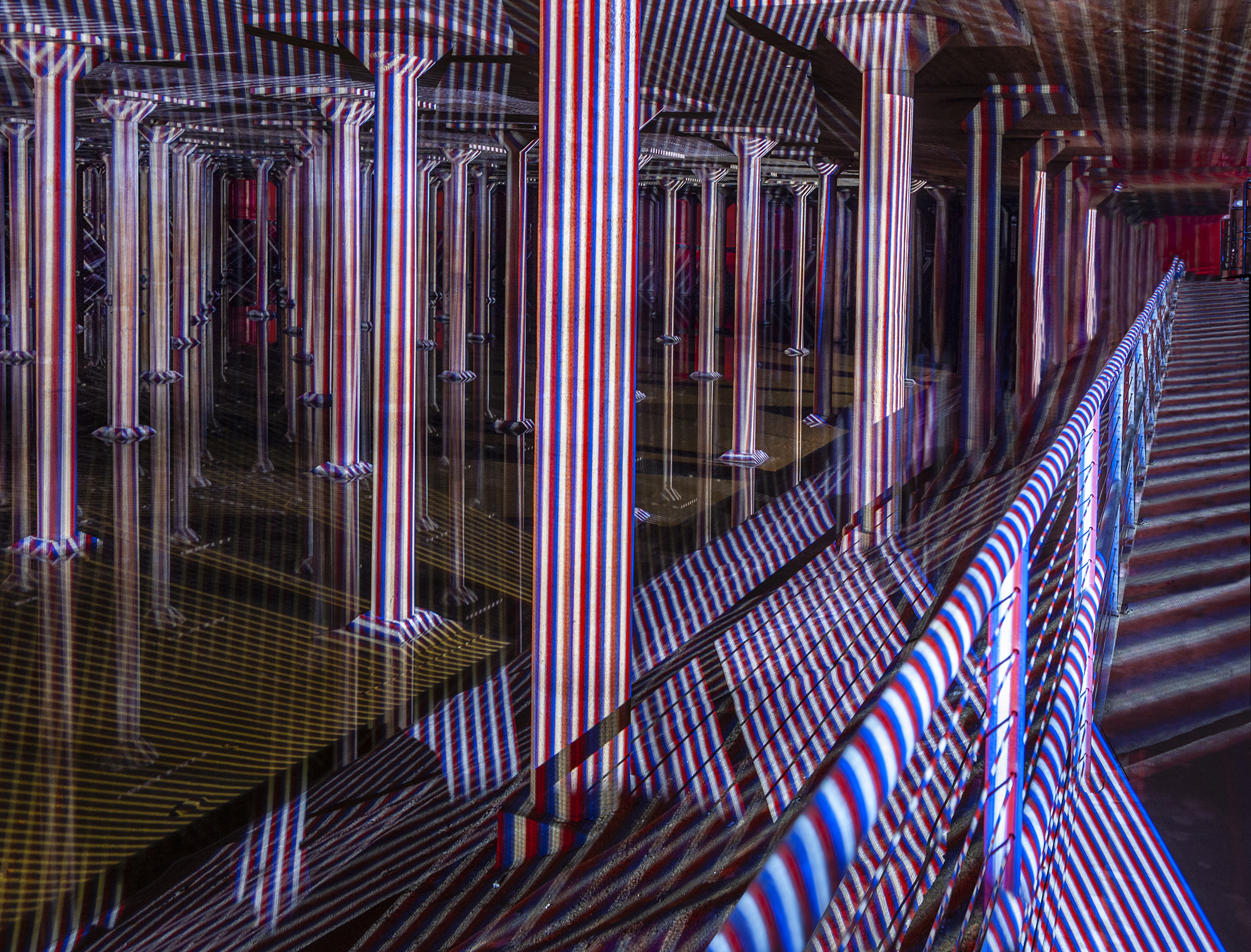 Carlos Cruz-Diez at the Cistern: Spatial Chromointerference. © Carlos Cruz-Diez / ADAGP, Paris 2018. Photo by Paul Hester.