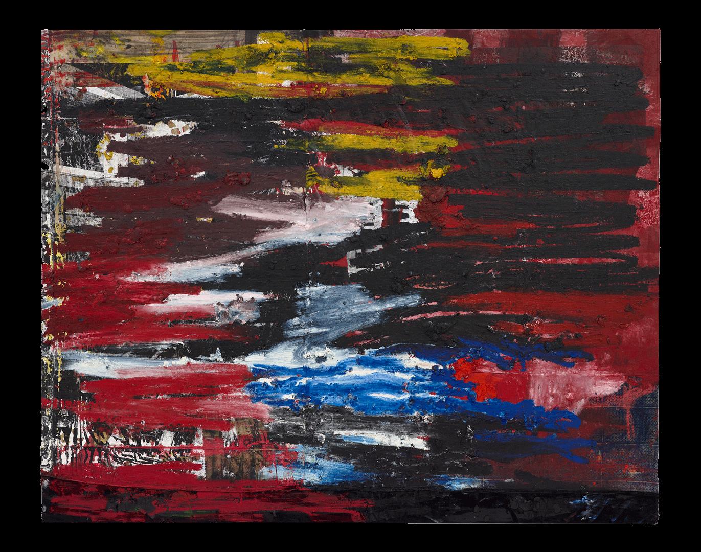 Oscar Murillo (sin título) news, 2017-2018 óleo y lápices de óleo sobre lienzo y lino. 200 x 250 cm.