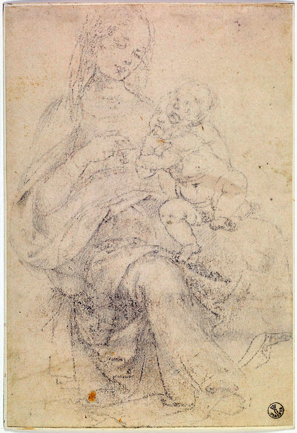 Madonna con niño sobre ella, de Andrea del Verrocchio o Leonardo Da Vinci