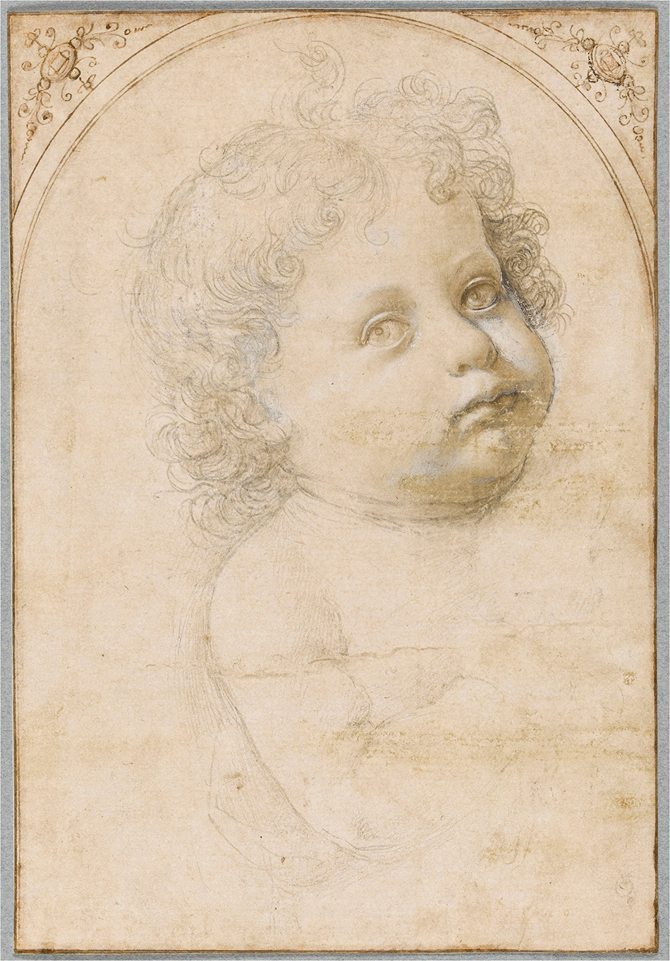Head of a baby (Study for an Infant Christ?). Verrocchio, Andrea del (Italian, c.1435-7 -1488). Black chalk, silverpoint heightened with white on prepared paper, the frame with arched top, drawn in pen and ink with touches of red chalk, height 229 mm, width 158 mm.