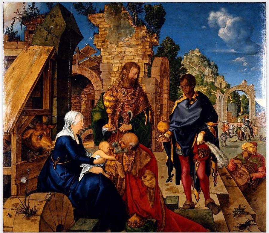 Durero, Adoración de los reyes magos. Galería Uffizi, Florencia.