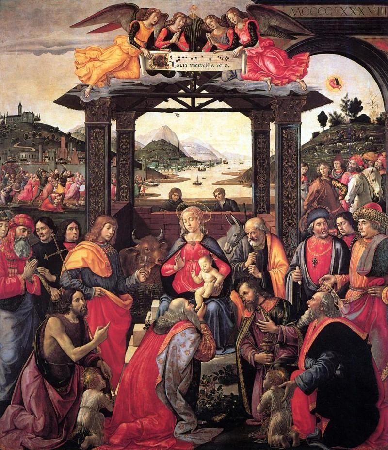Ghirlandaio, Adoración de los reyes magos. Florencia.