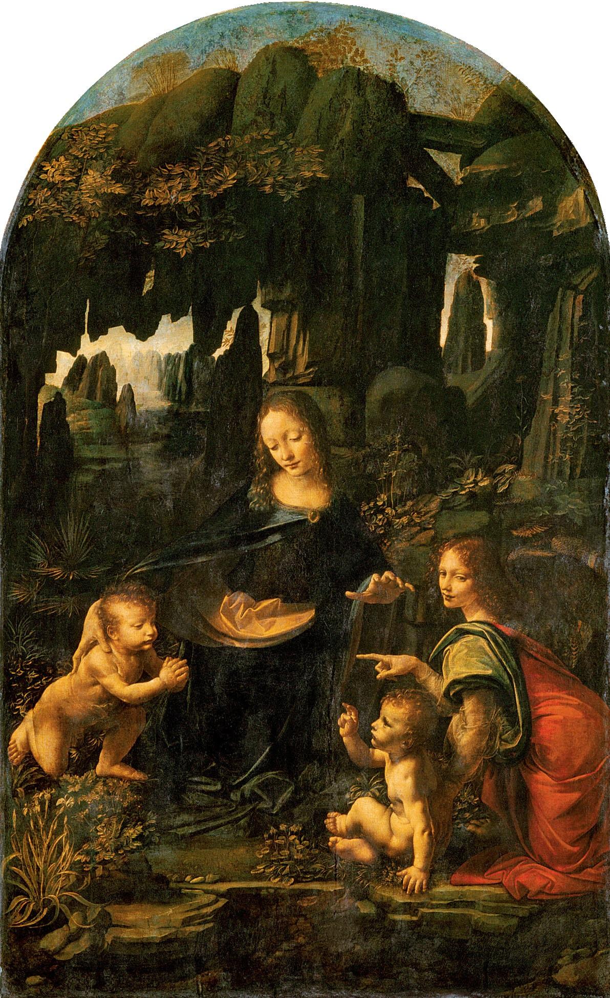 Leonardo da Vinci, Virgen de las rocas. Museo del Louvre
