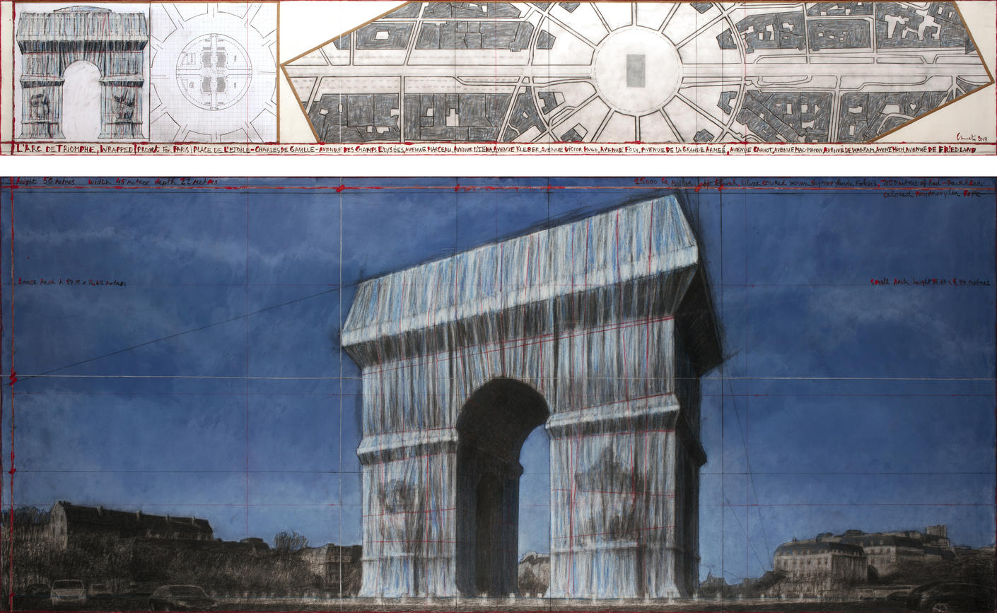 Christo L'Arc de Triomphe, Wrapped (Project for Paris) Place de l'Etoile – Charles de Gaulle Drawing 2019 in two parts Photo: André Grossmann © 2019 Christo