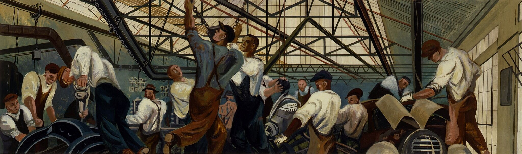 William Gropper, Automobile Industry (mural study, Detroit, Michigan Post Office), 1940–41
