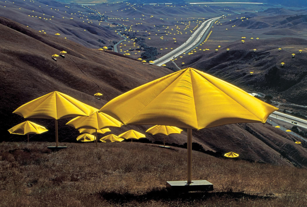Christo and Jeanne-Claude The Umbrellas, Japan-USA, 1984-91 Photo: Wolfgang Volz © 1991 Christo