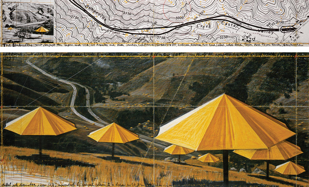 "Christo The Umbrellas (Joint Project for Japan and USA) Drawing 1988 in two parts Pencil, pastel, charcoal, photograph by Wolfgang Volz, wax crayon, enamel paint and topographic map 15 x 96"" and 42 x 96"" (38 x 244 cm and 106.6 x 244 cm) © 1988 Christo"