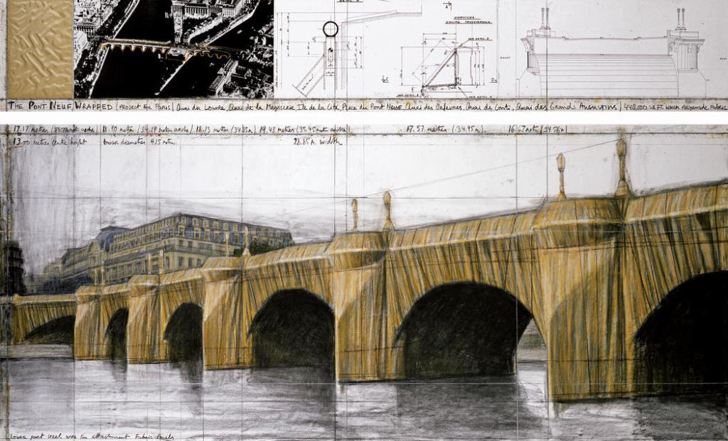 Christo. The Pont Neuf, Wrapped (Project for Paris) Drawing 1985 in two parts Pencil, charcoal, wax crayon, pastel, fabric sample, aerial photograph and technical data. Photo: Wolfgang Volz. © 1985 Christo Ref. # 54