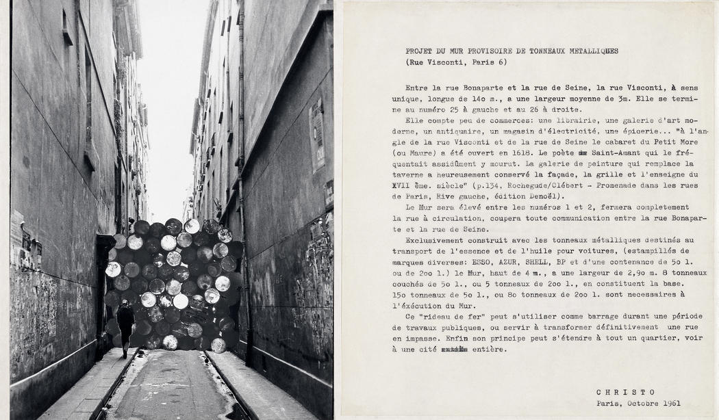 "Christo Projet du mur provisoire de tonneaux metalliques (Rue Visconti, Paris 6) Collage 1961 Two collaged photographs and a typewritten text 9 1/2 x 16"" (24 x 40.6 cm) Photo: Shunk-Kender © 1961 Christo"