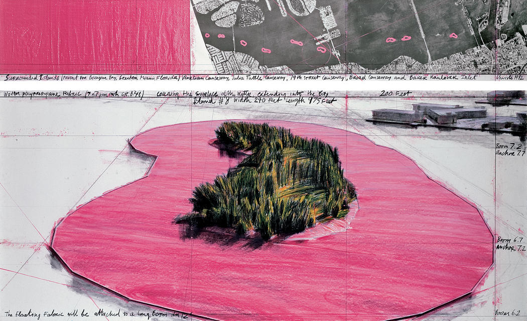 "Christo Surrounded Islands (Project for Biscayne Bay, Greater Miami, Florida) Drawing 1982 in two parts Pencil, charcoal, pastel, wax crayon, enamel paint, aerial photograph and fabric sample 15 x 96"" and 42 x 96"" (38 x 244 cm and 106.6 x 244 cm) Photo: Wolfgang Volz © 1982 Christo"