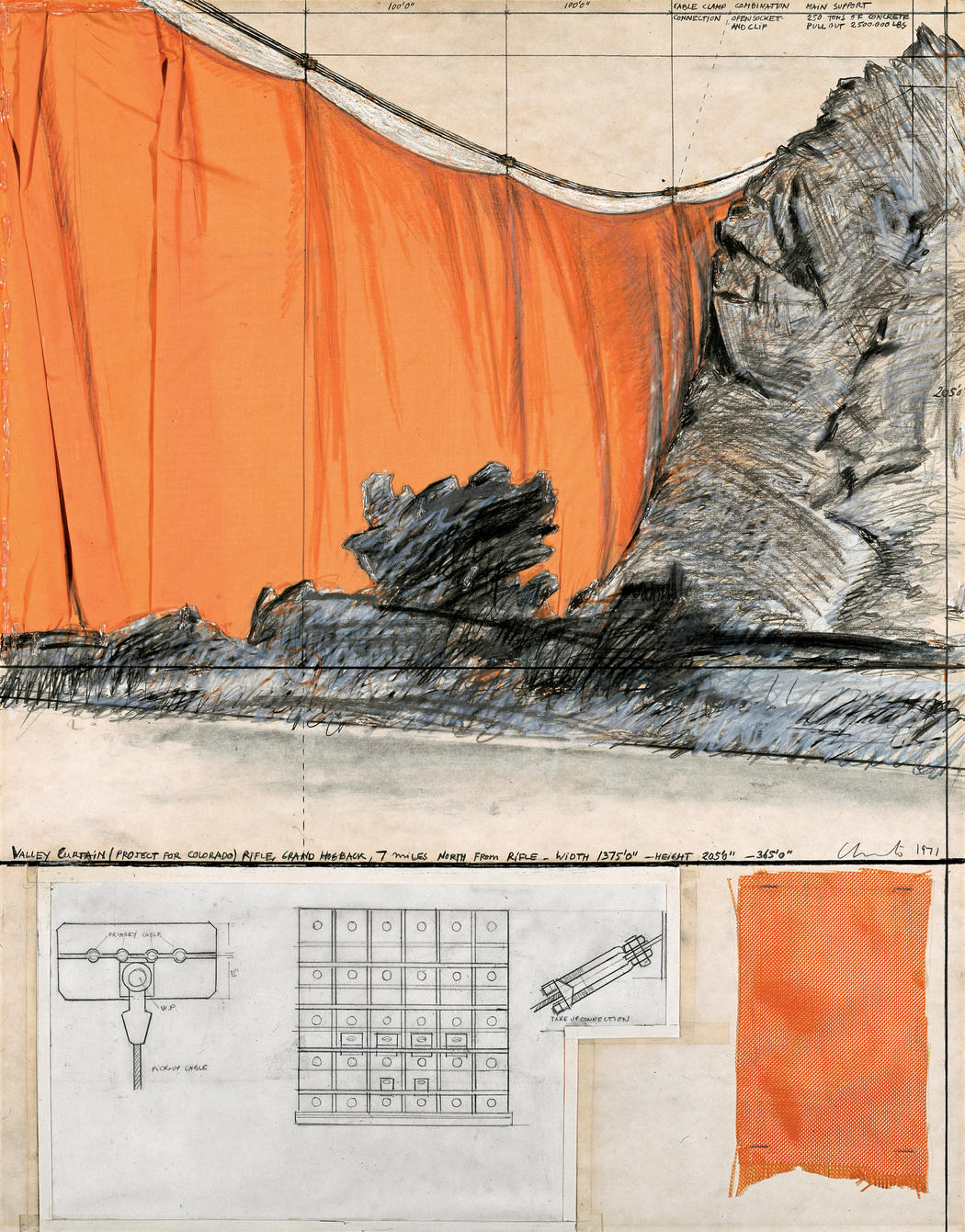 "Christo Valley Curtain (Project for Colorado) Collage 1971 Pencil, fabric, wax crayon, hand-drawn technical data, fabric sample, tape and staples 28 x 22"" (71 x 56 cm) Photo: Shunk-Kender © 1971 Christo"