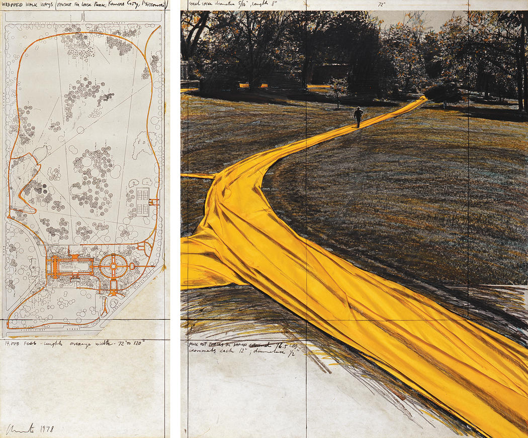 "Christo Wrapped Walk Ways (Project for Loose Park, Kansas City, Missouri) Collage 1978 Pencil, charcoal, pastel, fabric, photograph by Wolfgang Volz, wax crayon and map 28 x 11"" and 28 x 22"" (71 x 28 cm and 71 x 56 cm) Photo: Wolfgang Volz © 1978 Christo"