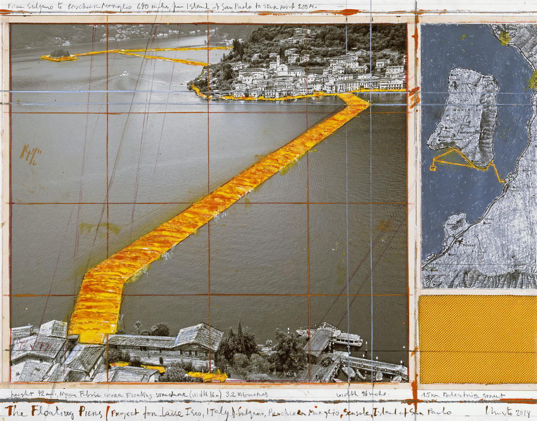 "Christo Floating Piers (Project) Drawing 2014 Pencil, charcoal and pastel 8 7/8 x 13 3/4"" (22.5 x 34.9 cm) Photo: André Grossmann © 2014 Christo"