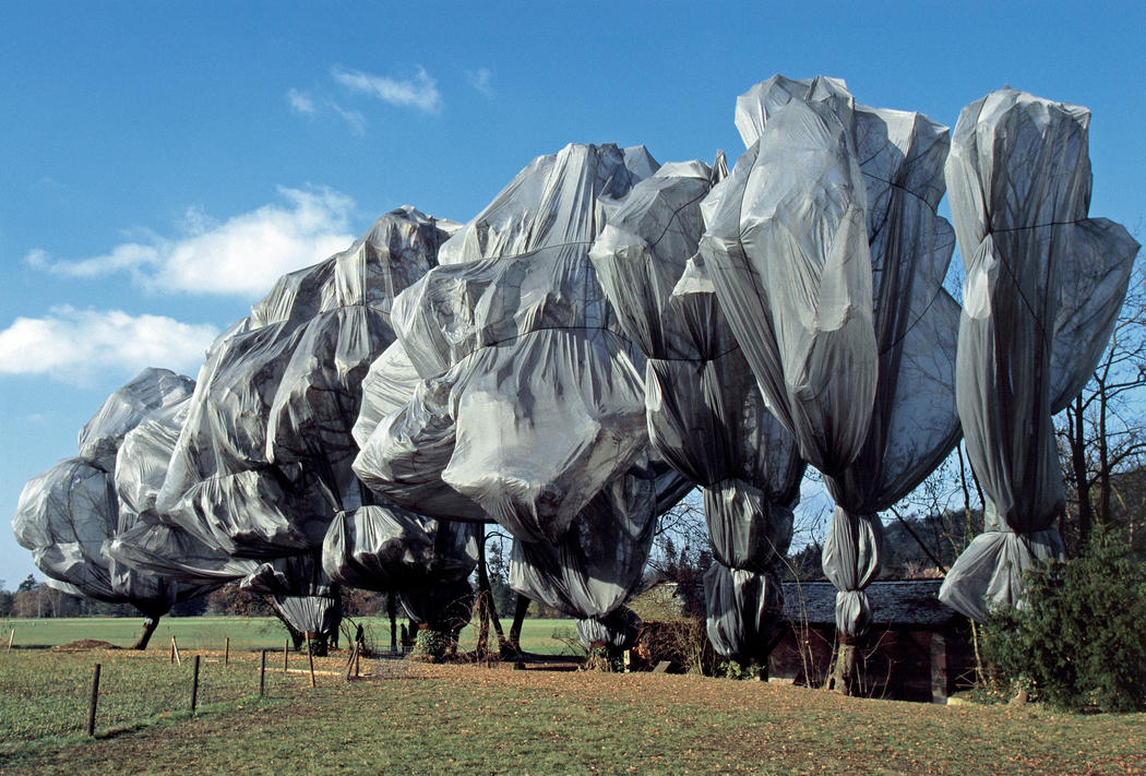 Christo and Jeanne-Claude Wrapped Trees, Fondation Beyeler and Berower Park, Riehen, Switzerland, 1997-98 Photo: Wolfgang Volz © 1998 Christo