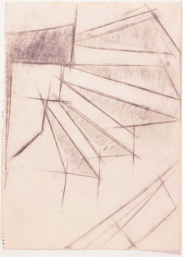 """Lygia Clark. Escadas, 1951. Carboncillo sobre papel, 14 9/16 x 10 7/16"""" (37 x 26.5 cm). Colección Privada."""