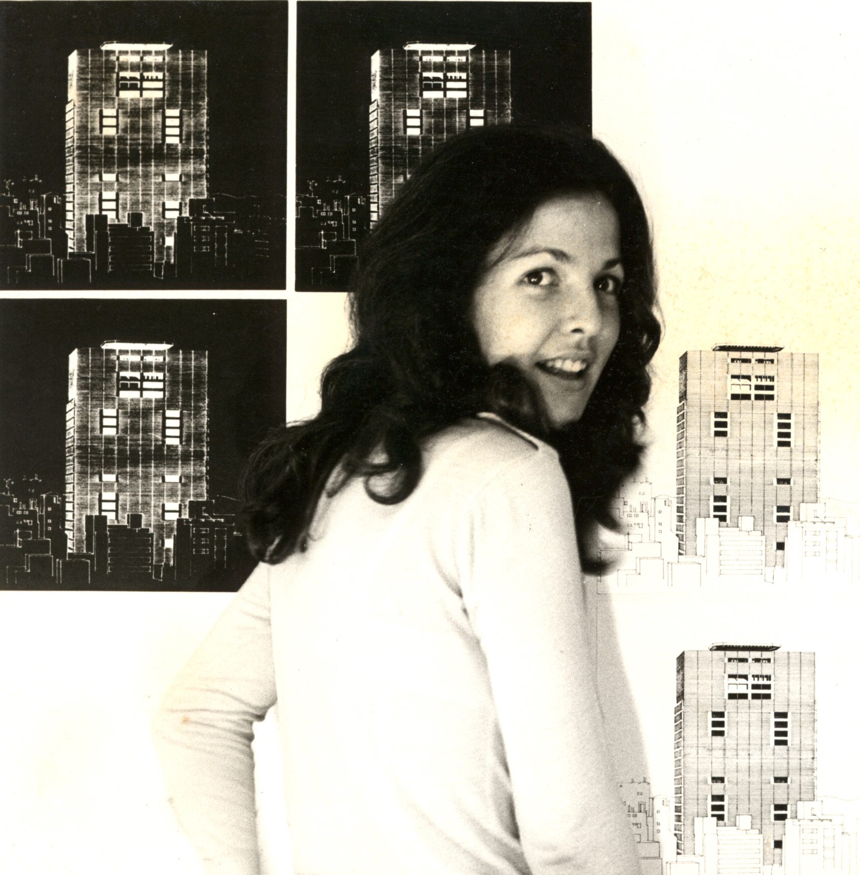 Loly preparando la exposición para la exposición de la nueva Torre Financiera del Banco Central de Venezuela. 1973
