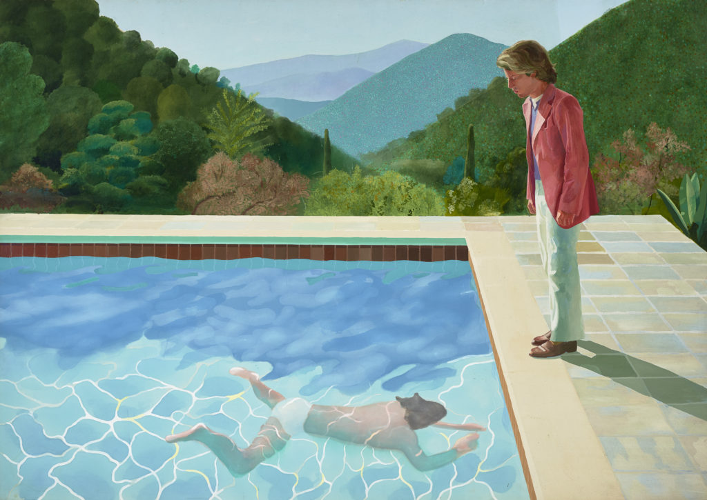 """""""Portrait of an artist (Pool with two figures)"""" 1972 ACRYLIC ON CANVAS 84 X 120"""" © DAVID HOCKNEY FOTO: ART GALLERY OF NEW SOUTH WALES/JENNI CARTER"""
