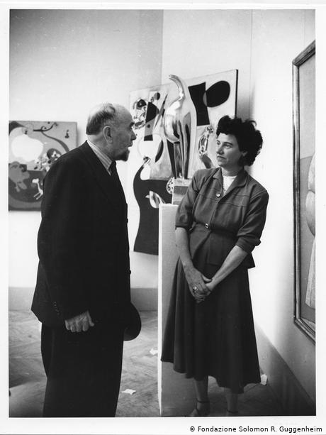 Guggenheim and painter Arturo Tosi at the Greek Pavilion in Venice 1948